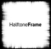 Halftone dots frame. Black and white square frame Stock Image