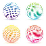 Halftone dots gradient sphere. Colorful round logo set isolated Stock Photos