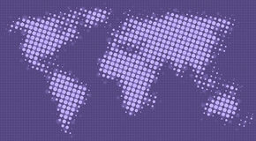 Halftone dots map of the world. In purple shades Royalty Free Stock Images