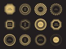 Halftone dots round banners design on black background. Vector illustration Royalty Free Stock Photo
