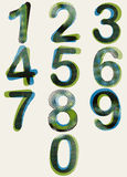 Halftone dots rounded numbers with dirty green blue black color Royalty Free Stock Photos