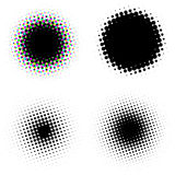Halftone dots set. Set of four different  halftone dots Stock Photo