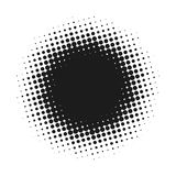 Halftone dotted vector abstract background, dot pattern in circle shape. Black comic banner isolated white backdrop. Trendy design element for round label or Royalty Free Stock Photos