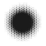 Halftone dotted vector abstract background, dot pattern in circle shape. Black comic banner isolated white backdrop. Trendy design element for round label or Royalty Free Stock Image