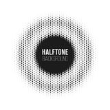 Halftone dotted vector abstract background, dot pattern in circle shape. Black comic banner isolated white backdrop. Trendy design element for round label or Royalty Free Stock Photo