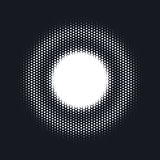 Halftone dotted vector abstract background, dot pattern in circle shape. White comic  backdrop. Trendy design Royalty Free Stock Images