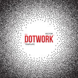 Halftone Dotwork Style Monochrome Gradient Vector Background Stock Images