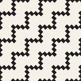 Halftone Edgy Lines Mosaic Endless Stylish Texture. Vector Seamless Black and White Pattern Royalty Free Stock Photo