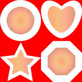 Halftone effect  circle, heart, star, polygon Stock Photos
