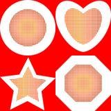 Halftone effect circle, heart, star, polygon. Abstract colorful dotted halftone effect circle, heart, star, polygon background stock illustration