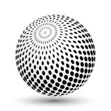 Halftone effect sphere in black and white. Vector 3D object with dropped shadow Royalty Free Stock Photography