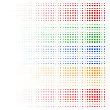 Halftone elements. Fading circles in 5 colors. Stock Photography