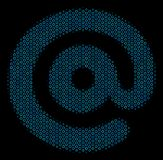 Email Symbol Mosaic Icon of Halftone Bubbles. Halftone Email symbol composition icon of spheric bubbles in blue color tinges on a black background. Vector empty Stock Photo