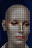 Halftone face. Halftone style illustration of mannequin face Stock Photography