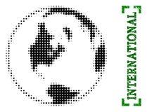 Halftone Globale Kaart van Wereld en Grunge-Titel met Hoeken stock illustratie