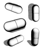 Halftone graphical black and white pill collection Stock Images