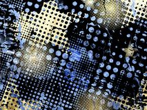 Halftone grunge. Abstract grunge background with halftone patterns in blue yellow and black Royalty Free Stock Images