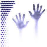 Halftone handensilhouet vector illustratie