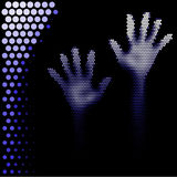 Halftone hands silhouette Stock Image