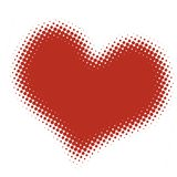 Halftone heart. Printed style symbol Royalty Free Stock Images