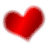 Halftone heart. Gradient red heart over white background. Halftone style Stock Photography