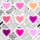 Halftone hearts newspapers Stock Image