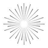 Halftone het effect van de puntzonnestraal stralen Zonstraal van punten Samenvatting gestippelde achtergrond Vector stock illustratie