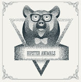 Halftone hipster bear with black Dots. Vector Royalty Free Stock Photo