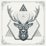 Halftone hipster deer with black Dots. Vector Stock Images