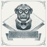 Halftone hipster monkey with black Dots. Vector Royalty Free Stock Images