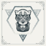 Halftone hipster Panther with black Dots. Vector Stock Photos