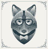 Halftone hipster wolf with black Dots. Vector Stock Photo