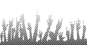 Halftone Isolated Hands. Hands raised in the air at a concert in dotted half tone Royalty Free Stock Photography