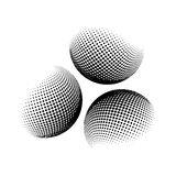 Halftone kula ziemska, sfera loga wektorowy symbol, ikona, projekt abstrakt kuli ziemskiej kropkowana ilustracja na tle Zdjęcie Stock