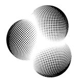 Halftone kula ziemska, sfera loga wektorowy symbol, ikona, projekt abstrakt kuli ziemskiej kropkowana ilustracja na tle Obraz Stock