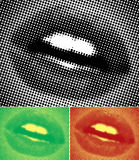 Halftone Lips. Female lips, in pop-art poster colours Royalty Free Stock Image
