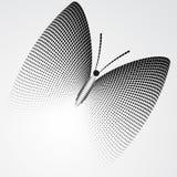 Halftone motyl, Czarny I Biały Abstrakcjonistyczna Wektorowa ilustracja Zdjęcie Stock