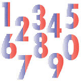 Halftone number alphabet font style Royalty Free Stock Photo