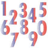 Halftone number alphabet font style Royalty Free Stock Photo