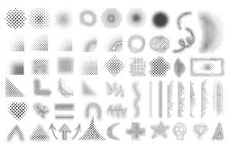 Halftone patterns set Stock Images