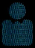 Person Composition Icon of Halftone Bubbles. Halftone Person collage icon of spheric bubbles in blue shades on a black background. Vector spheric parts are Royalty Free Stock Photo