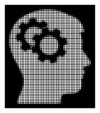 White Halftone Intellect Gears Icon. Halftone pixel intellect gears icon. White pictogram with pixel geometric pattern on a black background. Vector intellect vector illustration
