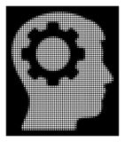 White Halftone Intellect Gear Icon. Halftone pixelated intellect gear icon. White pictogram with pixelated geometric pattern on a black background. Vector stock illustration