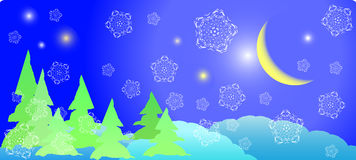 Halftone postcard. Winter postcard - xmas night with white snowflakes and old moon Royalty Free Stock Image