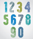 Halftone print dots textured numbers with rounded corners. Halftone print dots textured numbers with rounded corners, grunge aged macro style, bold poster stock illustration