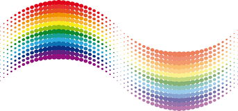 Halftone rainbow wave. On white Stock Images