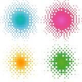 Halftone reeks kleurrijke halftone punten. Stock Afbeeldingen