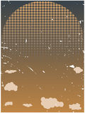 Halftone rising sun grungy orange clouds royalty free illustration