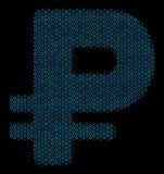 Rouble Composition Icon of Halftone Spheres. Halftone Rouble mosaic icon of spheres in blue color tints on a black background. Vector round spheres are combined Royalty Free Stock Image