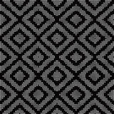 Halftone round black seamless background diamond check mosaic ge Stock Images